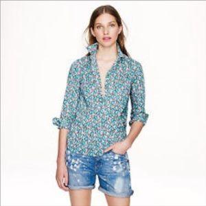 J. Crew 2 Women's Popover Shirt Flower Blue